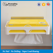 Shuangqing new arrival suction cup pumping paper towel holder paper towel holder plastic tissue box holder tissue box