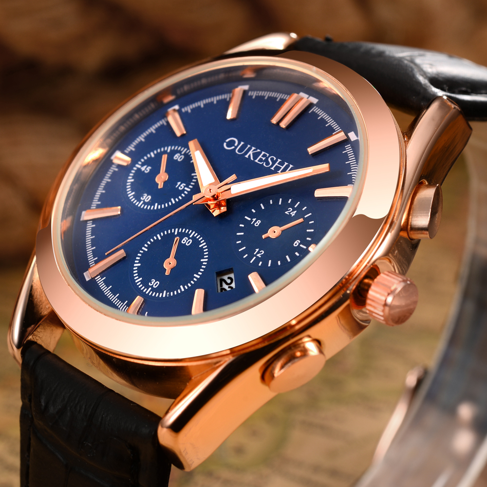 OUKESHI Calendar Quartz Men font b Watch b font Top Brand Luxury Fashion Leather Wristwatch Casual