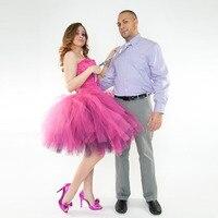 Fashion Hot Pink Tulle Skirt Custom Made Retro Full Sewn Midi Tutu Skirt in Fuchsia Stylish Bridal Bridesmaid Party Skirts