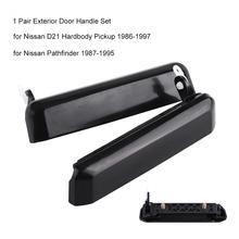 1 пара, автомобильная наружная дверная ручка, передняя левая+ правая, набор для Nissan D21 Hardbody Pickup Pathfinder, черная Автомобильная дверная ручка