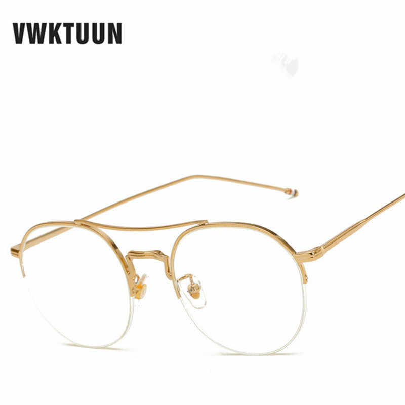 2e30314edb ... VWKTUUN Fashion Vintage Half Frame Glasses Frame Men Women Myopia  Eyeglasses Spectacle Frame Optical Computer Goggles ...