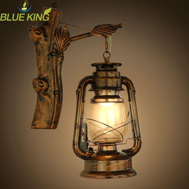 Rustic Lantern Wall Mounted Wrought Iron Vintage Brown