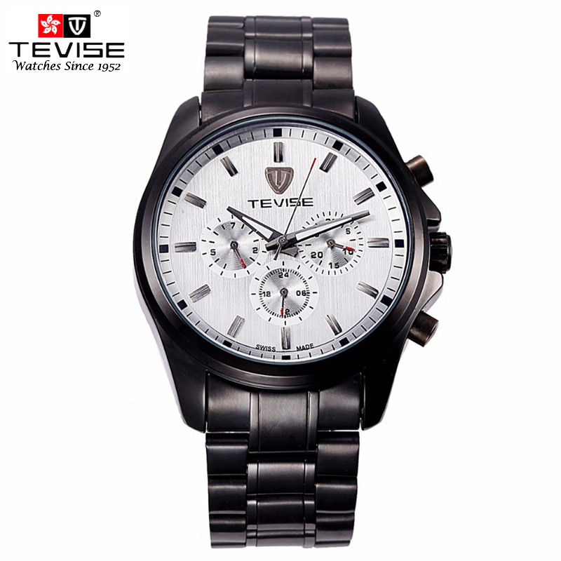 TEVISE Fashion Men Automatic Mechanical Watches Self Wind Black Silver Stainless Steel Luminous Auto Date Day Wristwatches 8377 tevise men automatic self wind gola stainless steel watches luxury 12 symbolic animals dial mechanical date wristwatches9055g