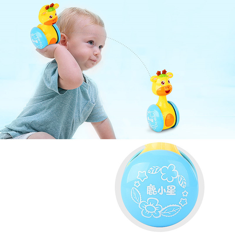 Rattles Giraffe Tumbler Doll Baby Toys Sweet Bell Music Roly-poly Learning Education Toys Gifts Baby Bell Toys 3-12M Cartoon