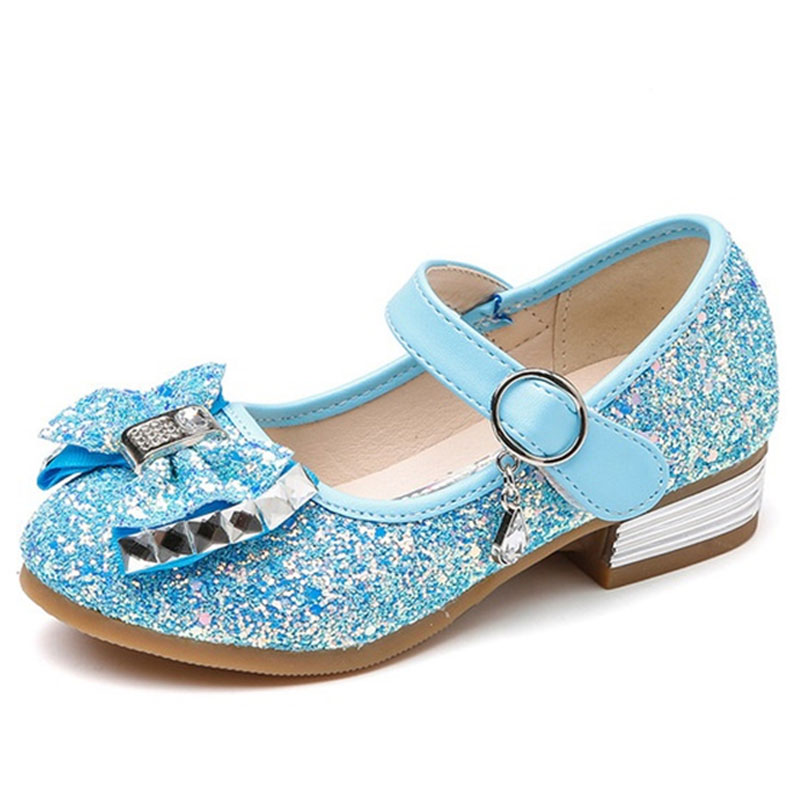 Kids Sequined Bowknot Flats Shoes Girls Princess Rhinestone Single Shoes Girls Wedding Sweet Moccasins Loafers AA60250|  - title=