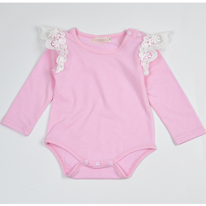 2018 Pink Baby Girl Long Sleeve Newborn Onesie Lace Wings Flutter Sleeve Baby Bodysuit Baby Girl Clothes 3 Months Infant Clothes