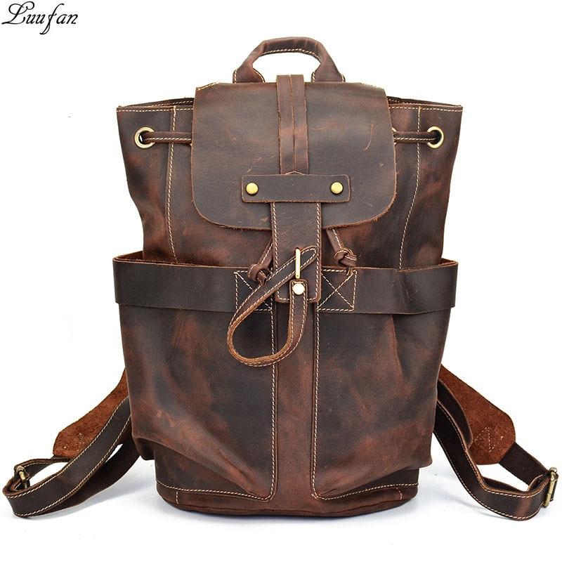 Crazy horse genuine leather men backpack laptop business bag vintage cow leather travel backpack men daypack