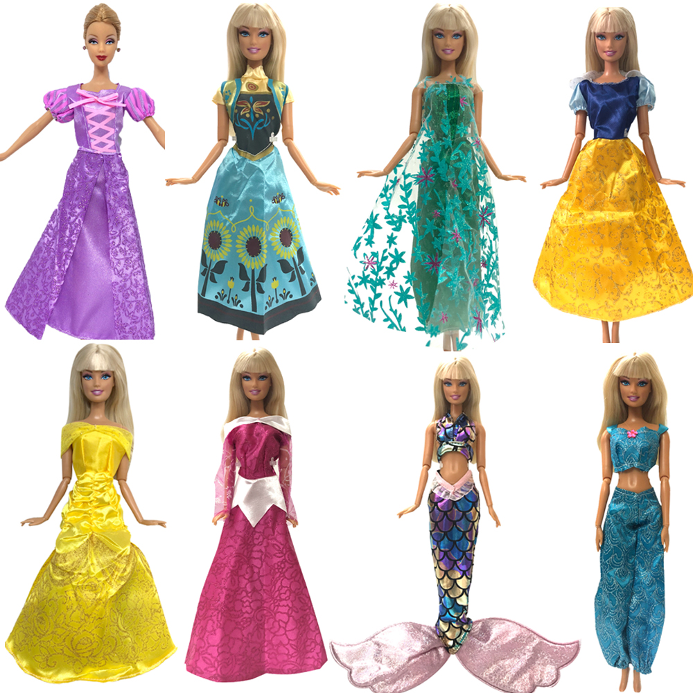 NK One Set Doll Dress Similar Fairy Tale Princess Snowwhite Cinderella Anna Wedding Dress For Barbie Doll Accessories Best Toys 2 items 1dress 1 set accessories 1pair earing 1necklace little girls s gift luxurious wedding dress for barbie doll