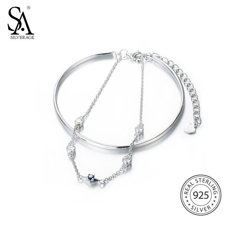SA SILVERAGE Real 925 Sterling Silver Chain Link Bracelets & Bangles Fine Jewelry Two Layer 925 Silver Bracelet Women Female 2018 mens jewelry double layer link chain men bracelets 925 sterling silver bracelets