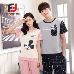 Пара пижамы Для женщин летние Мышь короткий рукав + штаны пижамный комплект Для Мужчин's Повседневное Пижама комплект пижамы костюм ночная