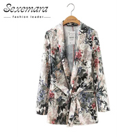 Floral Vintage Women Blazers 2017 New Ladies Outwear Sashes Jackets Casual Notched Collar Long Sleeves Pocket