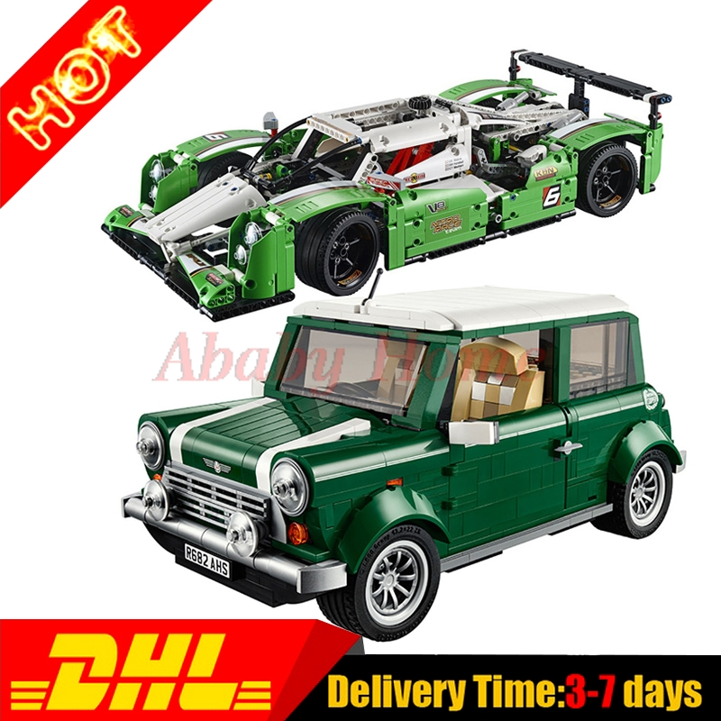 Lepin 20003 24 hours Race Car + Lepin 21002 MINI Cooper Technic Series Building Blocks Bricks Set Toys Gifts Clone 42039 10242 lepin technic city series 24 hours race car building blocks bricks model kids toys marvel compatible legoe