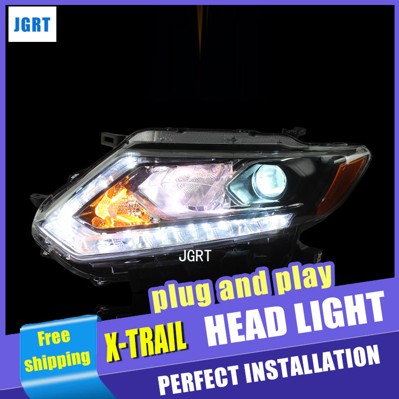 Car Styling For NISSAN X-TRAIL headlights For X-TRAIL LED head lamp Angel eye led DRL front light Bi-Xenon Lens xenon HID union car styling for renegade headlights for renegade hid head lamp angel eye led drl front light for jeep renegade hid lamp