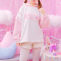 2017 Women Oversize Patchwork Hooded Hoodies Harajuku Japanese Print Lace Pullover Girly Girl Kawaii Sweatshirt Ulzzang