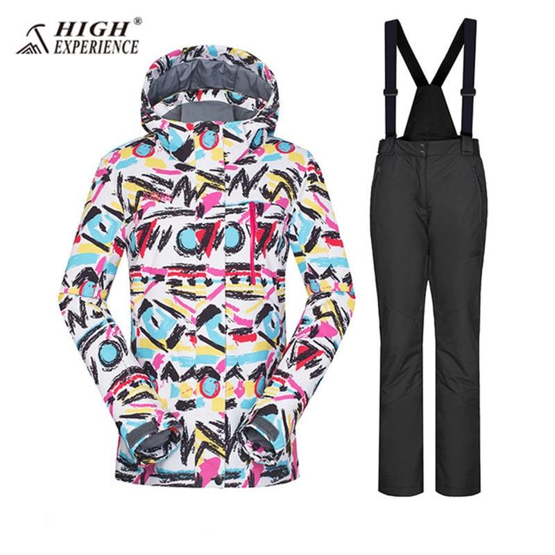 Hiver Femmes de Ski Costumes D'hiver Imperméables Sport Costume Femmes Vestes De Neige Pantalon de Ski Costume Femmes Snowboard Ensemble Femelle Russe 42-52