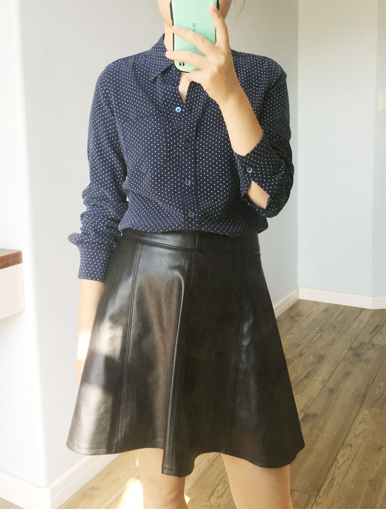053e0c59a17fb EQ Ladies 100% silk dark blue polka dot print women long sleeve blouses  women shirt