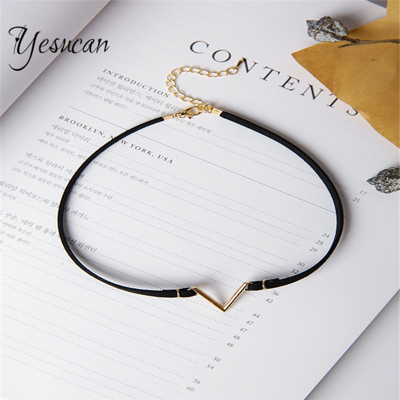 Yesucan Bohemia Simple Minimal V Necklace Women Punk Geometric Choker Neklaces For Female Fashion Jewelry Collares Femme Gift ...