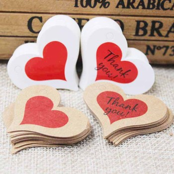 2018 Zerong heart shape gift label tag ,vintage thank you kraft tag for gifts ,candy favors display decoration label tag 4*2.6cm