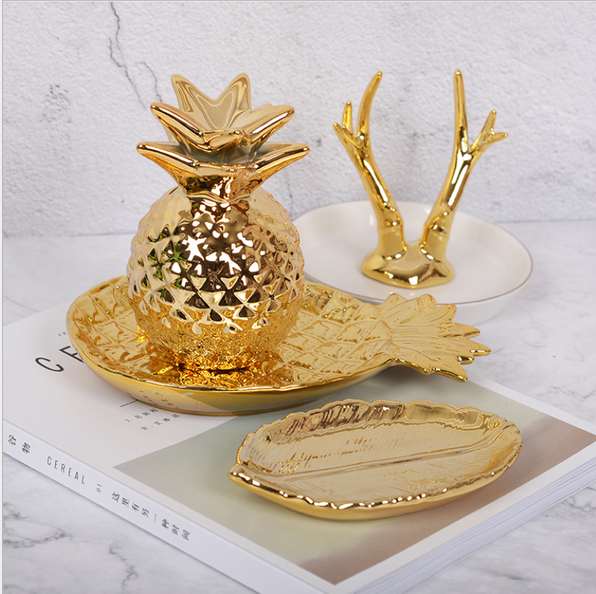 Tableware Golden Pineapple Ceramic Plates Jewelry Storage Tray Pastry Fruit Dish Dinner Plates Snack Dish For Kitchen Supplies in Dishes Plates from Home Garden