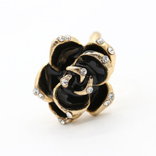 Fashion Drip Rose Black Flower Ring Rhinestone Camellia Open Adjustable For Women Accessories 2018