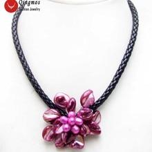 Qingmos Модный цветочный кулон и ожерелье для женщин с 70 мм розовый цветок ожерелье ювелирные изделия чокеры 18 ''N6360
