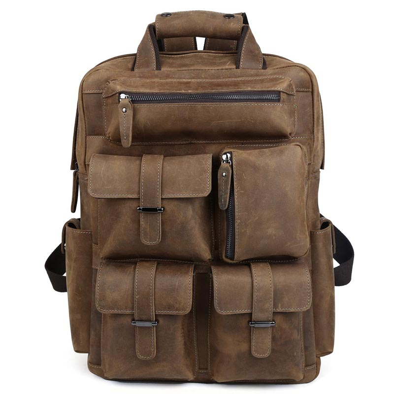 TIDING Cool Cowhide Leather Laptop Backpack Day Pack Activity Travel Weekender Overnight Bag 30813