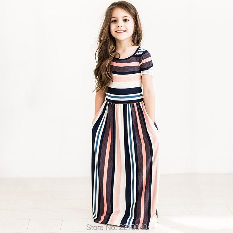 autumn kids clothes dresses for girls stripe maxi dress beach long princess pageant dress casual teenage evening party clothing toddler kids baby girls boho long foral princess party dress prom beach maxi sundress print lovely casual long sleeve dresses