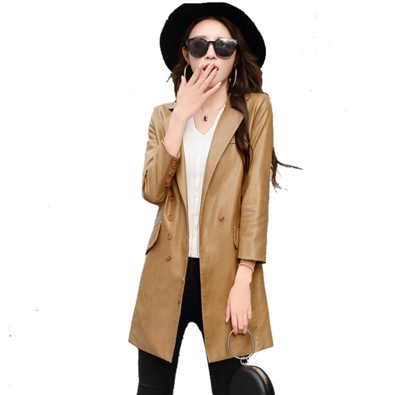 2018 New Fashion Women Long   Leather   Jacket Coat Female Spring Autumn Long Sleeve Slim   Suede   Jacket Women Motorcycle Coat