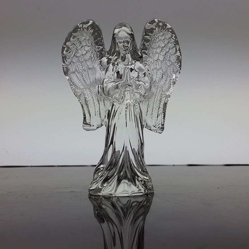 Hot Praying Guardian Standing Angel Crystal figurer for barnedåp i dåpsfesten