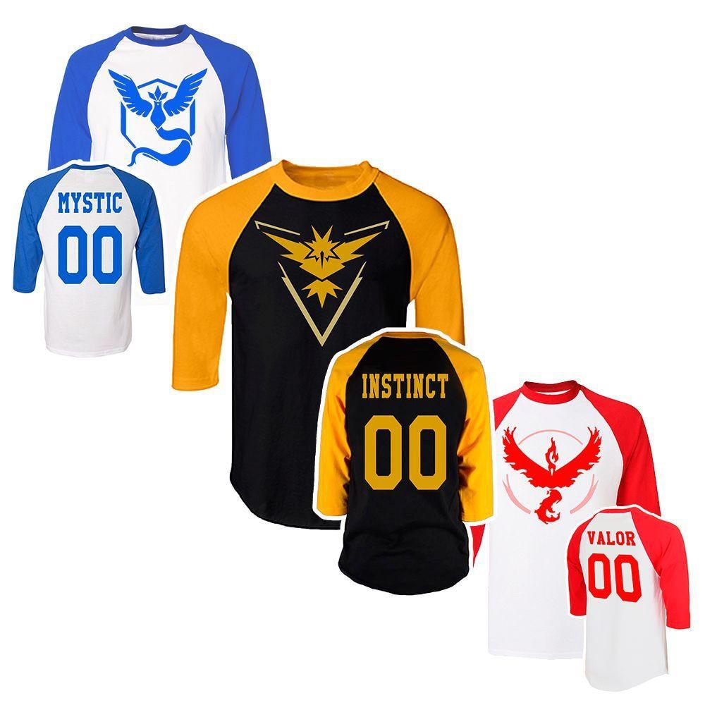 New Arrival T-Shirts Men for Pokemon Logo Group Instinct Mystic Valor Cosplay Fashion Printed Tshirt Three Quarter Tee Shirts