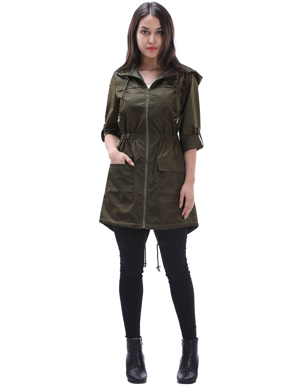 Big code  style Coat Women Slim Cotton Casual Long Coat with  Adjustable Waist Zippers Overcoat fashion
