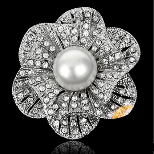Красивый прозрачный с горным хрусталем белый искусственный жемчуг центр цветок Свадебная букетная брошь - Окраска металла: Silver Clear Cryst