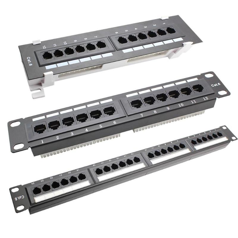 Cold Rolled Steel Networking Wall Mount Rack 12/24 Port CAT6 Patch Panel RJ45 Networking Wall Mount Rack Mounted Bracket