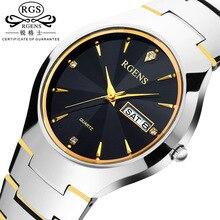 De luxe hommes montre à quartz en acier de tungstène D'origine marque homme horloge étanche calendrier Business Poignet casual montres Diamant semaine