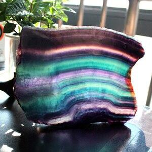 Image 2 - Cristal de fluorita Natural colorido a rayas fluorita cuarzo Arco Iris joyería piedra adornos cristal original para regalos