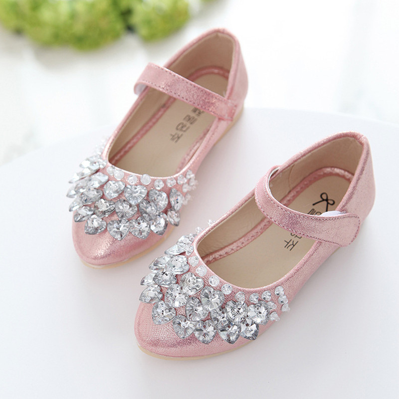 2019New Childrens Shoes Rhinestones Shining Kids Princess Shoes For Baby Girls Shoes For Party And Wedding Gold Silver Pink 2-14