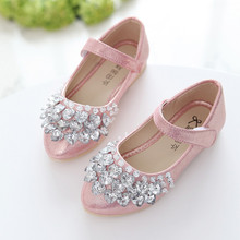 2019New Childrens Shoes Rhinestones shining Kids Princess for Baby Girls For Party and Wedding Gold Silver Pink 2-14