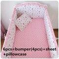 2016 6PCS crib bedding set kids bedding set newborn baby bed set crib bumper (bumpers+sheet+pillow cover)