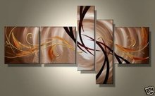 hand-painted  oil wall art Golden sky white day home Abstract Landscape Framed painting on canvas 5pcs/set wood framed