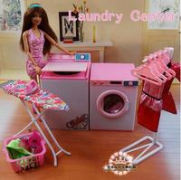 for barbie laundry Doll Accessories House Furniture Girl Birthday Gift Laundry Cleaner Dryer Center for Barbie Educational Toys