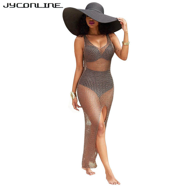 bf106a8148 JYConline Summer Beach Dress Vestidos 2017 Women Sleeveless Hollow Out Mesh  Party Maxi Dresses Fishnet Sundress Sexy Split Dress