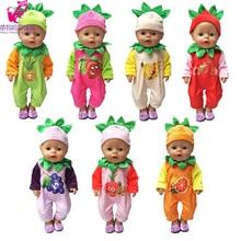 43cm bebés nacidos ropa de la muñeca mono de la serie de fruta linda para muñecas nap zapf de 18 pulgadas