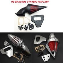 For 02-09 Honda VTX 1800 VTX1800 R S C N F Motorcycle Air Cleaner Kit Intake Filter Black Chrome 2002 2003 2004 2005 2006 2007 full set front rear brake discs rotors for honda vtx 1800 c f n r s t 02 03 04 05 06 07 08 09 10 11 2011 2010 2009 2008 2007 new