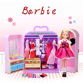 New Pink Luxury Fashion Show Change Wardrobe Toy Barbie Doll Accessory Clothing Dress Shoes Bags Home Pretend Play Gift for Girl