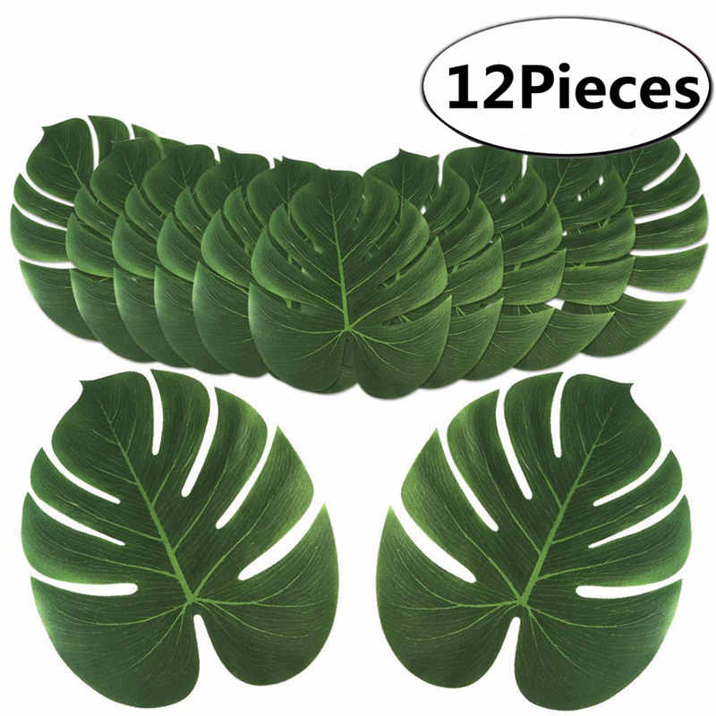 12Pcs Artificial Tropical Palm Leaves for Hawaiian Luau Theme Party Decorations Home garden decoration AA8238