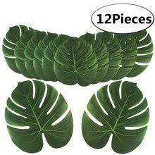 12 Uds. De hojas artificiales de palmera tropicales para Luau Hawaiano, decoraciones de fiesta temáticas, decoración de jardín para el hogar AA8238