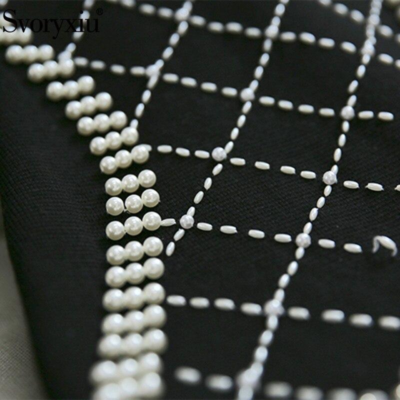 Noir Manuel De Hiver Luxe À Vestdios Svoryxiu Femmes Designer Automne Perles Chandail Tricoter Sexy Fourreau Cou Robe V blanc Noir xZnZvUPwzq