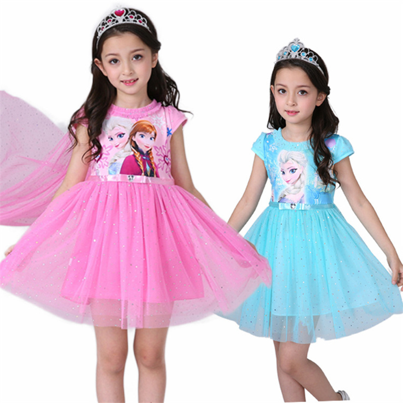 Dresses For Girls Cosplay Princess Anna Elsa Snow Queen Elsa Costume Halloween Party Vestidos Fantasia Kids Girls Clothing 3-9T