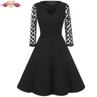 New Polka Dot Lace Patchwork Dress Women Autumn Vintage Rockabilly Evening Party Dresses Mesh Long Sleeve