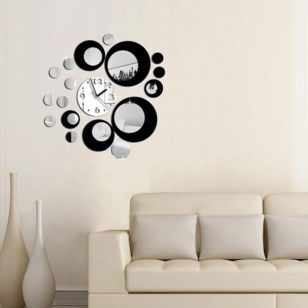 Modern Circles Mirror Effect DIY Wall Clock Movement Home Decoration Living Room Wall Decor Sticker Clocks